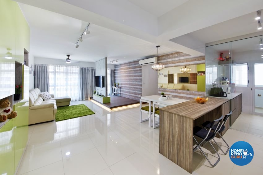 Tropical Design - Living Room - HDB 5 Room - Design by I-chapter Pte Ltd