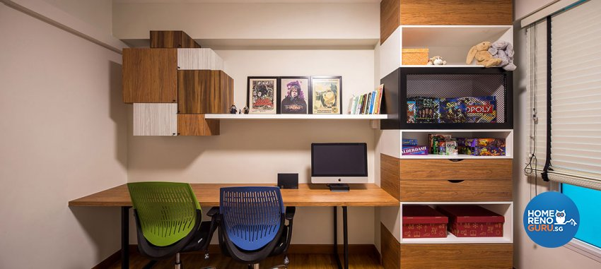 Retro, Scandinavian Design - Study Room - HDB 4 Room - Design by Icon Interior Design