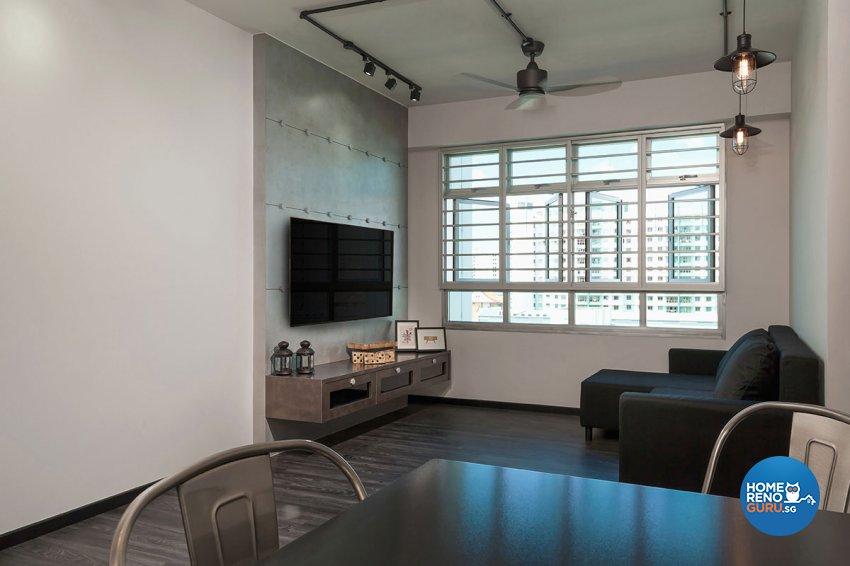 Industrial Design - Living Room - HDB 4 Room - Design by Icon Interior Design