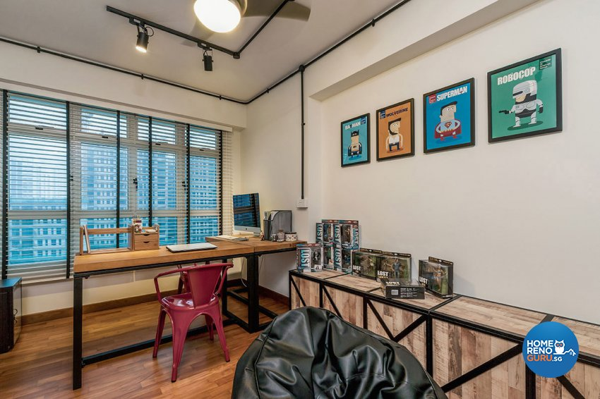 Industrial, Scandinavian Design - Study Room - HDB 5 Room - Design by Icon Interior Design
