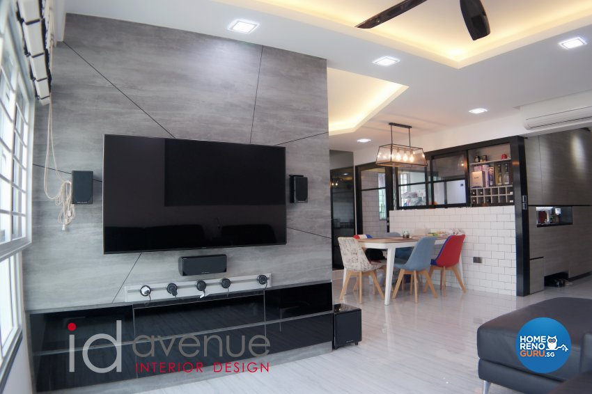 Industrial, Modern Design - Living Room - HDB 5 Room - Design by ID Avenue Pte Ltd (Interior Design Avenue)