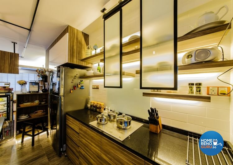 Country, Eclectic Design - Kitchen - HDB 4 Room - Design by Ideal Design Interior Pte Ltd