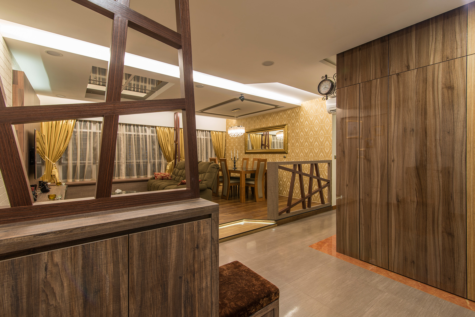 Country, Rustic Design - Dining Room - HDB 5 Room - Design by Ideal Design Interior Pte Ltd