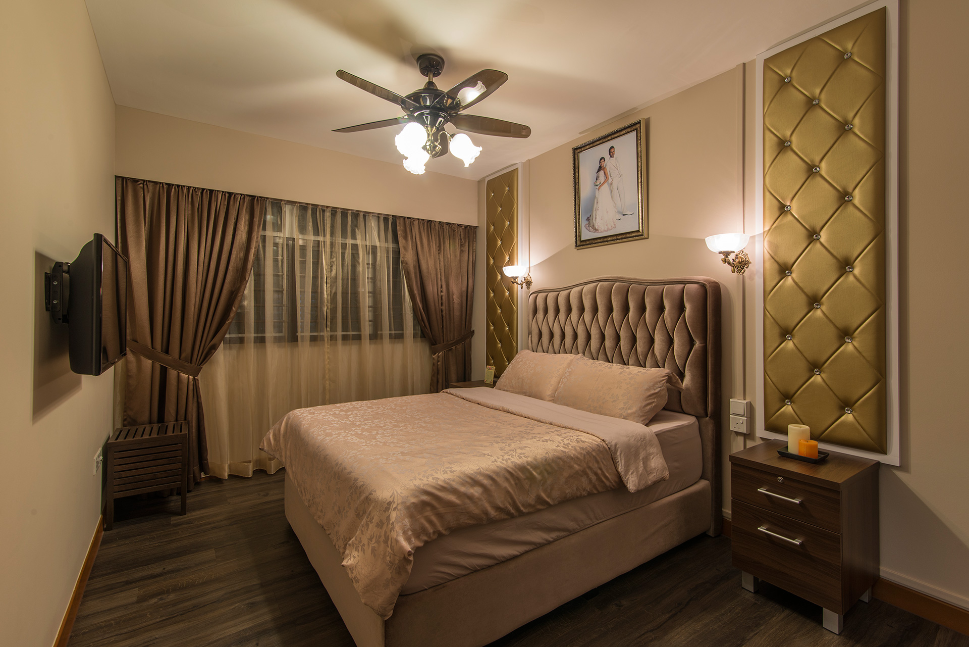 Country, Rustic Design - Bedroom - HDB 5 Room - Design by Ideal Design Interior Pte Ltd
