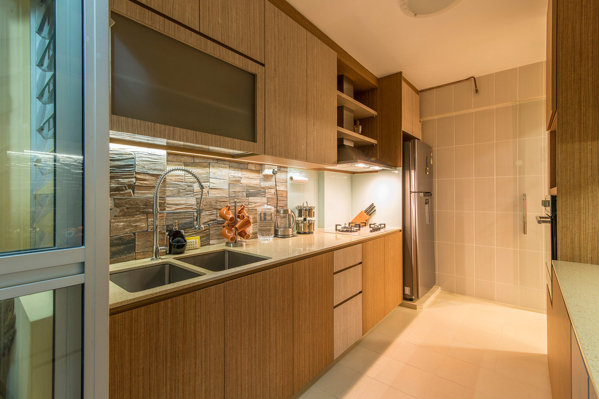 Country, Rustic Design - Kitchen - HDB 5 Room - Design by Ideal Design Interior Pte Ltd