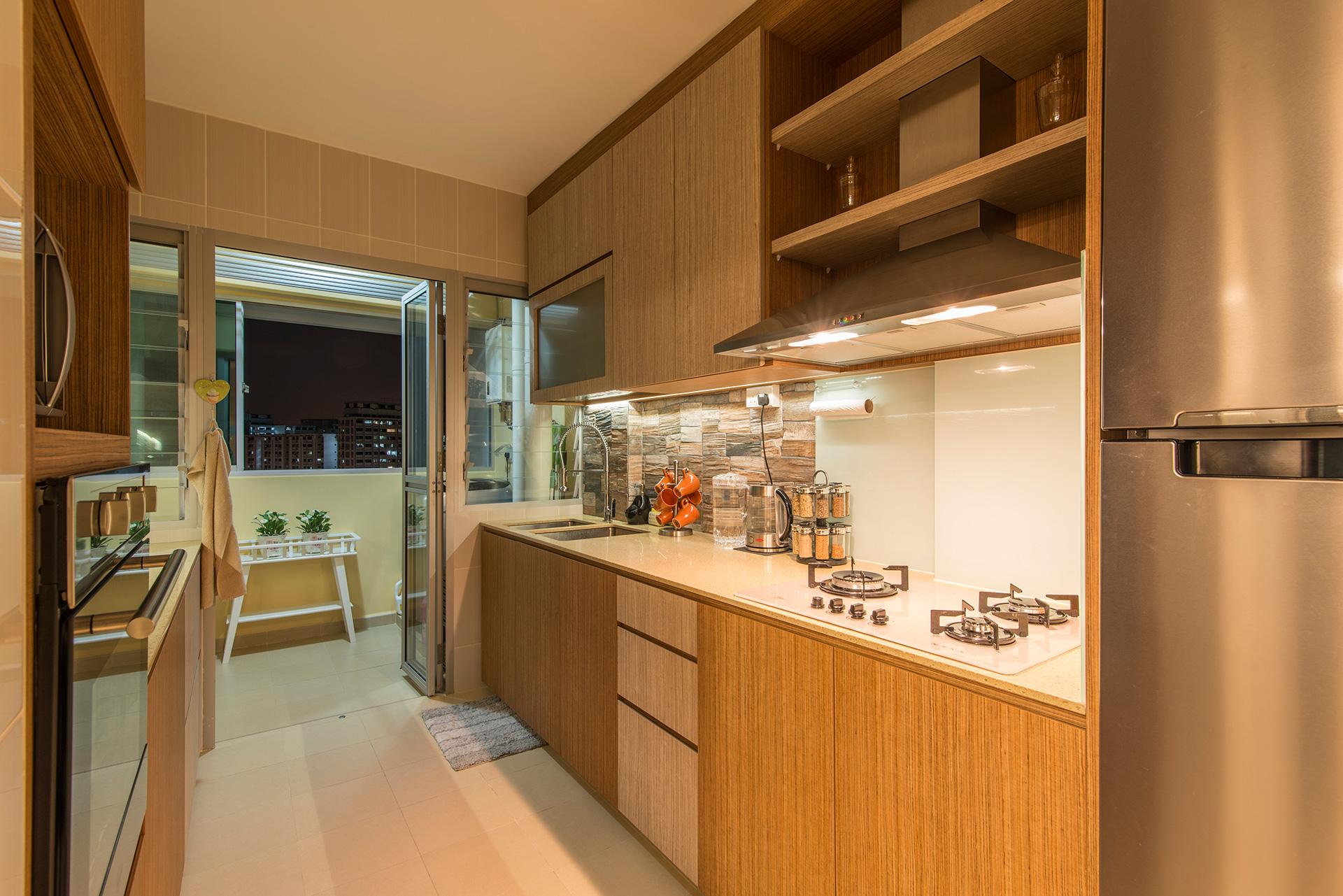 Country, Rustic Design - Kitchen - HDB 5 Room - Design by Ideal Design Interior Pte Ltd