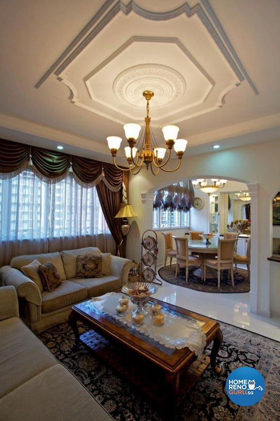 Country, Victorian Design - Living Room - HDB Executive Apartment - Design by Impression Design Firm Pte Ltd