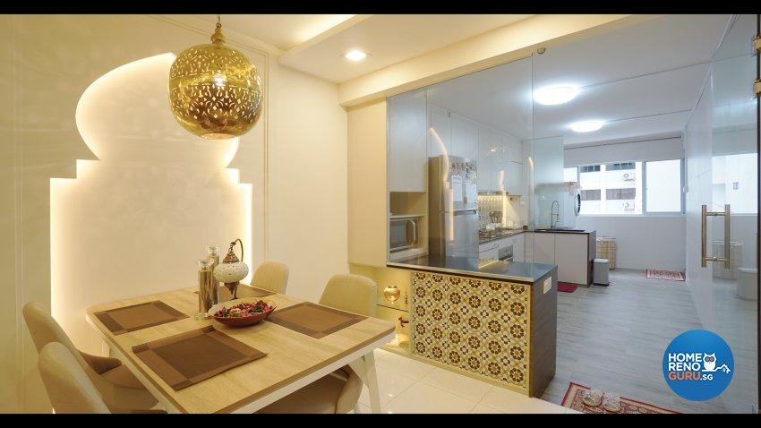 Resort, Tropical Design - Dining Room - HDB 3 Room - Design by ING Designers Pte Ltd