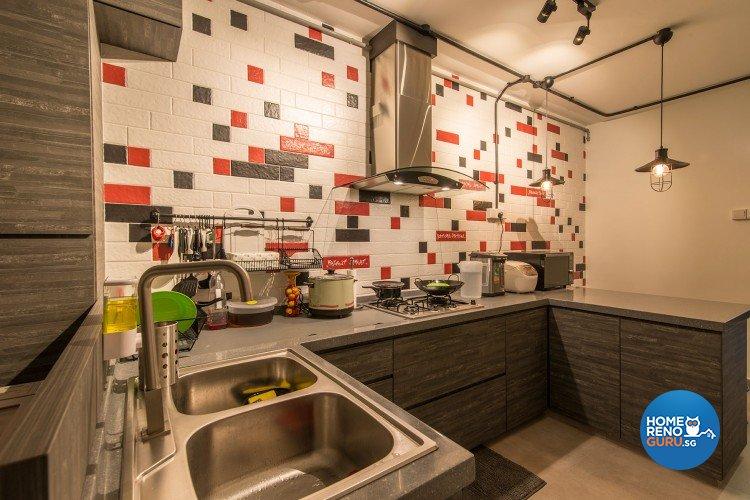 Industrial, Scandinavian Design - Kitchen - HDB 3 Room - Design by Innerglow Design Pte Ltd