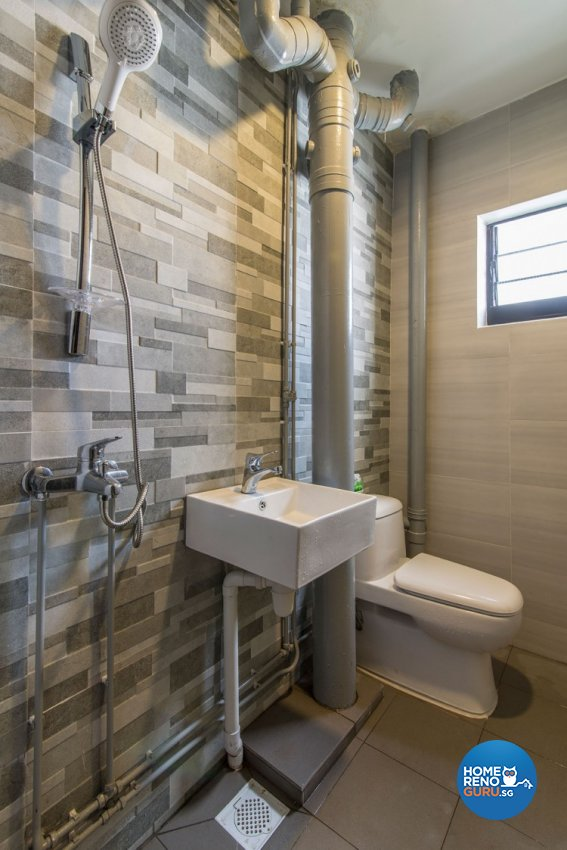Industrial, Scandinavian Design - Bathroom - HDB 3 Room - Design by Innerglow Design Pte Ltd
