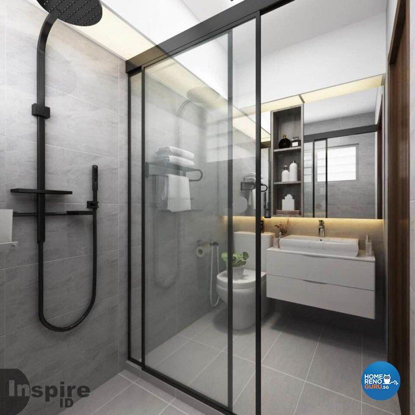 Minimalist, Scandinavian Design - Bathroom - HDB 4 Room - Design by Inspire ID Group Pte Ltd