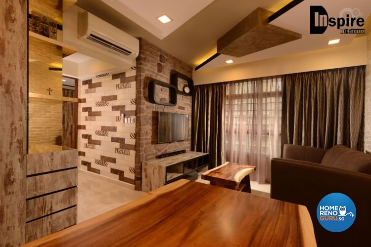 Country, Resort, Rustic Design - Living Room - HDB 3 Room - Design by Inspire ID Group Pte Ltd