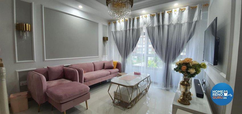 Modern, Victorian Design - Living Room - HDB 4 Room - Design by Inspire ID Group Pte Ltd