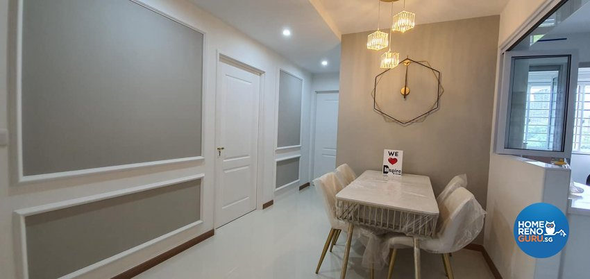 Modern, Victorian Design - Dining Room - HDB 4 Room - Design by Inspire ID Group Pte Ltd