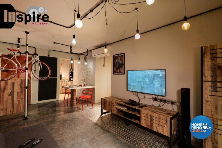 Industrial, Scandinavian Design - Living Room - HDB 4 Room - Design by Inspire ID Group Pte Ltd