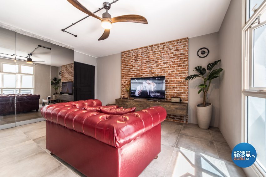 Industrial Design - Living Room - HDB 4 Room - Design by Inspire ID Group Pte Ltd