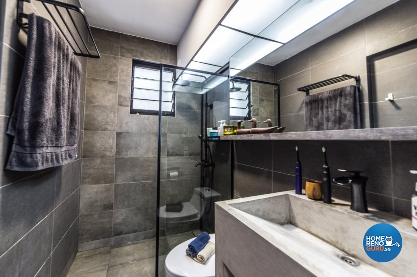 Industrial Design - Bathroom - HDB 4 Room - Design by Inspire ID Group Pte Ltd