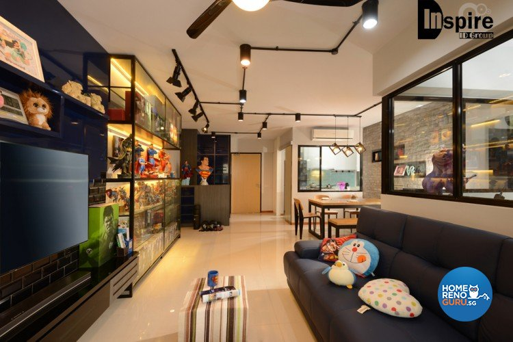 Industrial, Modern Design - Living Room - HDB 4 Room - Design by Inspire ID Group Pte Ltd