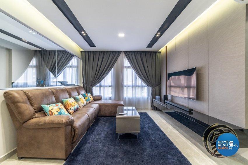 Contemporary, Modern Design - Living Room - HDB 5 Room - Design by Jialux Interior Pte Ltd
