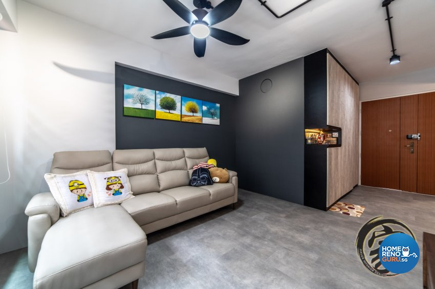 Industrial Design - Living Room - HDB 4 Room - Design by Jialux Interior Pte Ltd