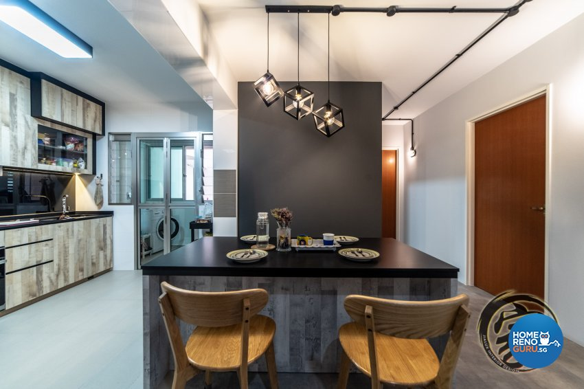 Industrial Design - Dining Room - HDB 4 Room - Design by Jialux Interior Pte Ltd