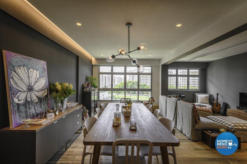 Eclectic, Retro, Rustic Design - Dining Room - HDB 5 Room - Design by Le Interi