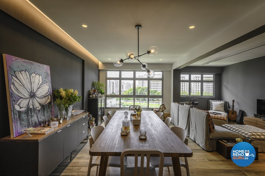 Eclectic, Retro, Rustic Design - Dining Room - HDB 5 Room - Design by Le Interi