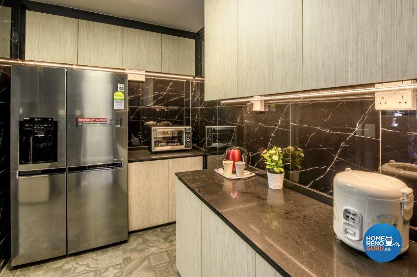 Classical, Contemporary, Rustic Design - Kitchen - HDB Executive Apartment - Design by Le Interi