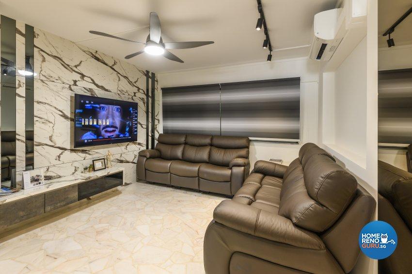 Classical, Contemporary, Rustic Design - Living Room - HDB Executive Apartment - Design by Le Interi