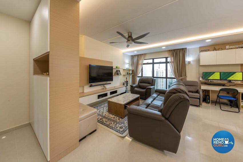 Modern Design - Living Room - HDB 4 Room - Design by Leef Deco Pte Ltd