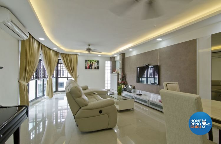 Contemporary, Modern Design - Living Room - HDB 5 Room - Design by Leef Deco Pte Ltd