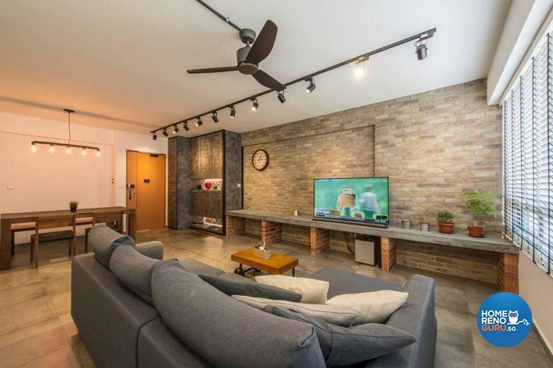 Industrial, Modern Design - Living Room - HDB 5 Room - Design by Living Gaia