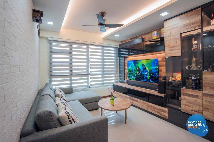 Modern, Resort, Rustic Design - Living Room - HDB 4 Room - Design by LOME Interior