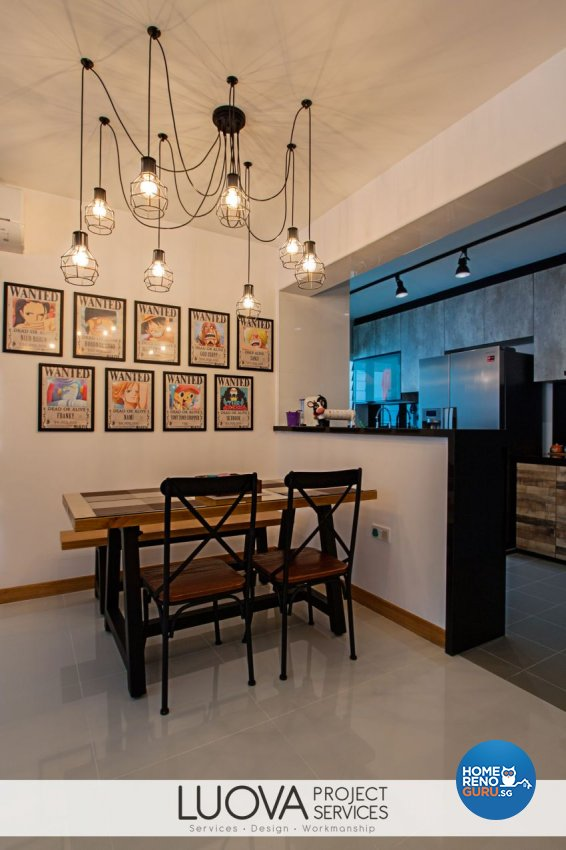 Industrial, Rustic, Scandinavian Design - Dining Room - HDB 5 Room - Design by Luova Project Services