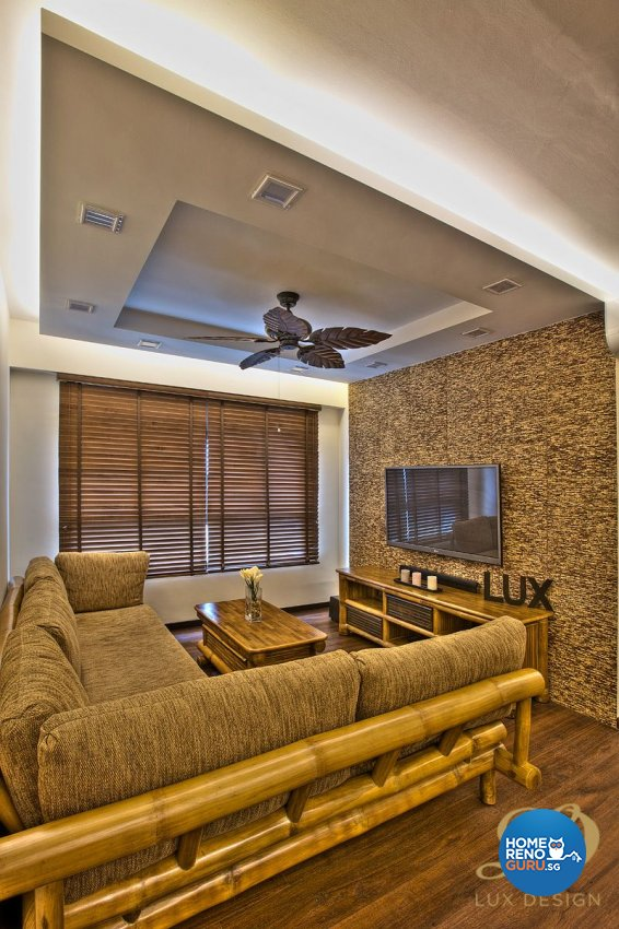 Contemporary, Tropical Design - Living Room - HDB 4 Room - Design by Lux Design Pte Ltd