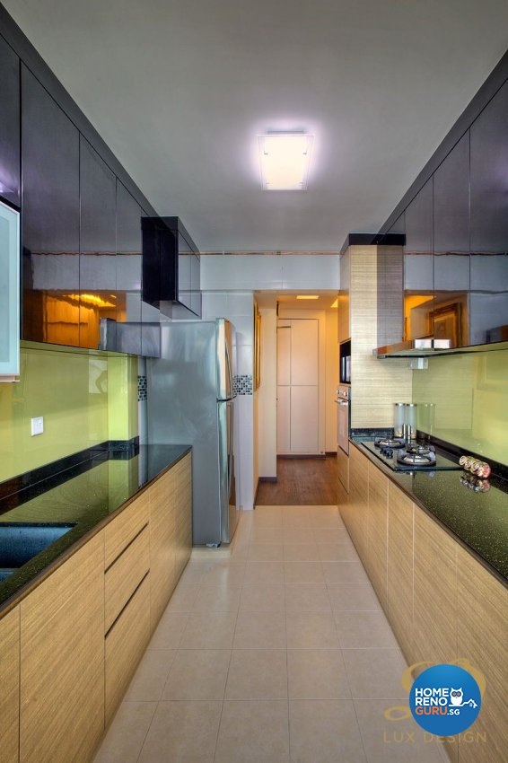 Contemporary, Tropical Design - Kitchen - HDB 4 Room - Design by Lux Design Pte Ltd