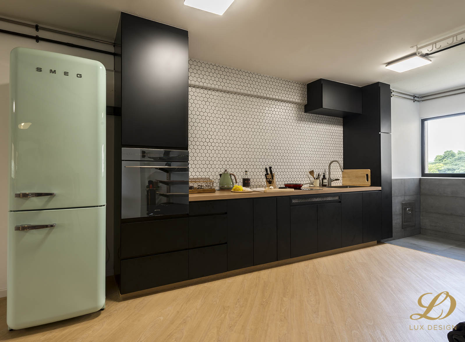 Industrial, Scandinavian Design - Kitchen - HDB 4 Room - Design by Lux Design Pte Ltd