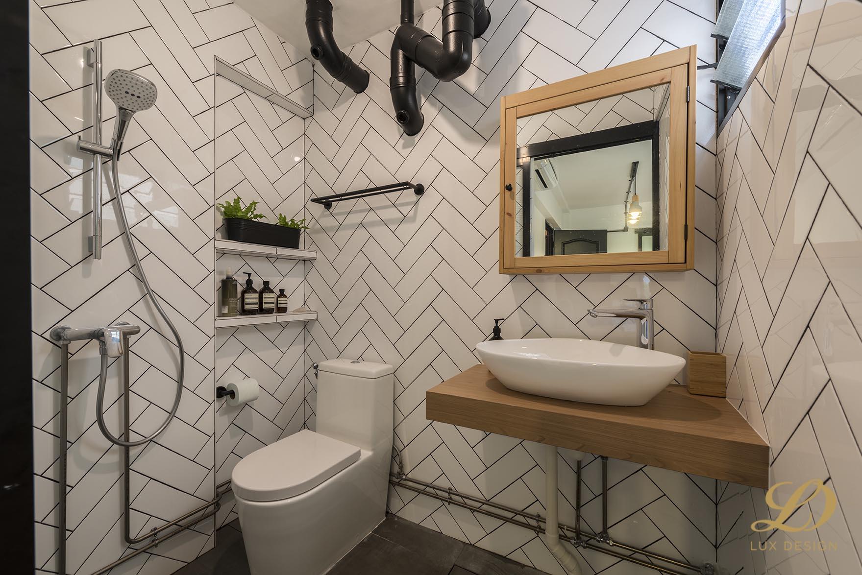 Industrial, Scandinavian Design - Bathroom - HDB 4 Room - Design by Lux Design Pte Ltd
