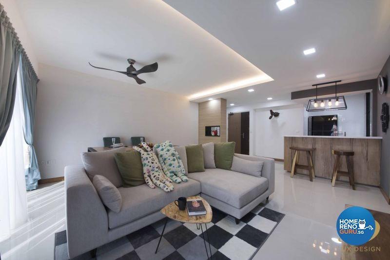 Contemporary Design - Living Room - HDB 5 Room - Design by Lux Design Pte Ltd