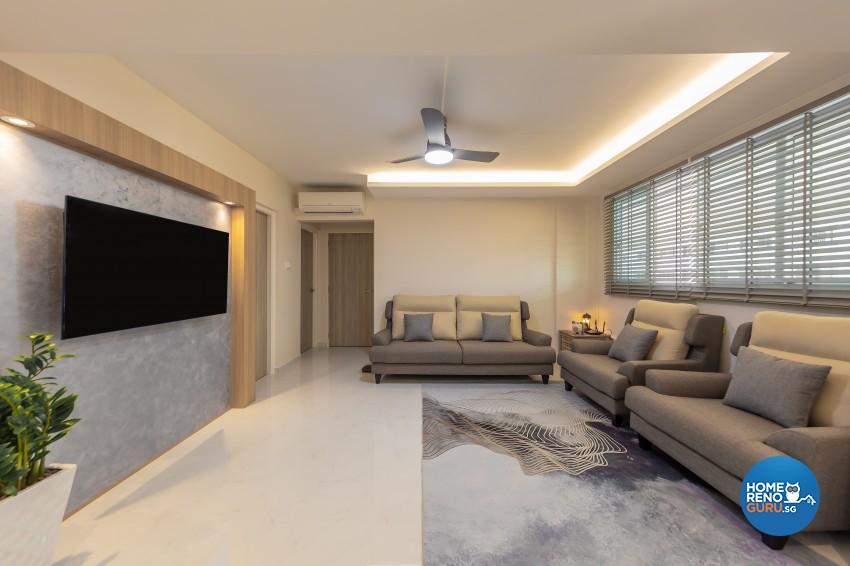 Modern, Scandinavian Design - Living Room - HDB 4 Room - Design by Luxurious Design Pte Ltd