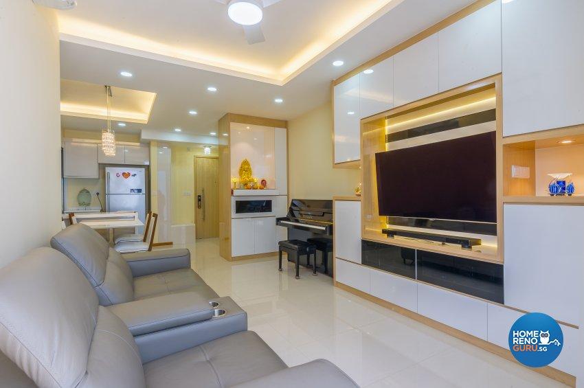 Classical, Contemporary Design - Living Room - HDB Executive Apartment - Design by Luxurious Design Pte Ltd