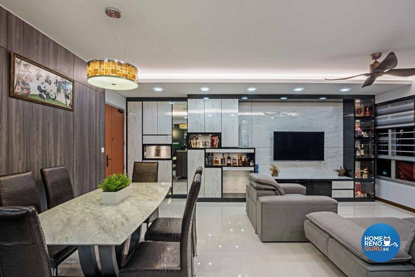 Contemporary, Modern Design - Living Room - HDB 4 Room - Design by Luxurious Design Pte Ltd