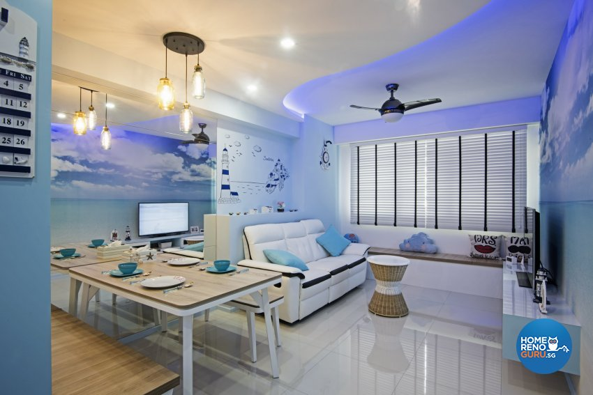 Contemporary, Mediterranean, Tropical Design - Dining Room - HDB 3 Room - Design by Luxurious Design Pte Ltd