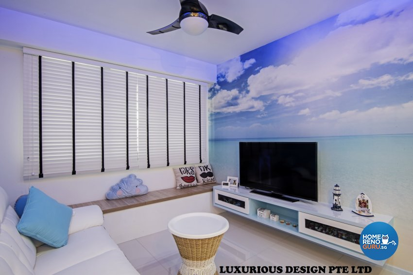 Contemporary, Mediterranean, Tropical Design - Living Room - HDB 3 Room - Design by Luxurious Design Pte Ltd