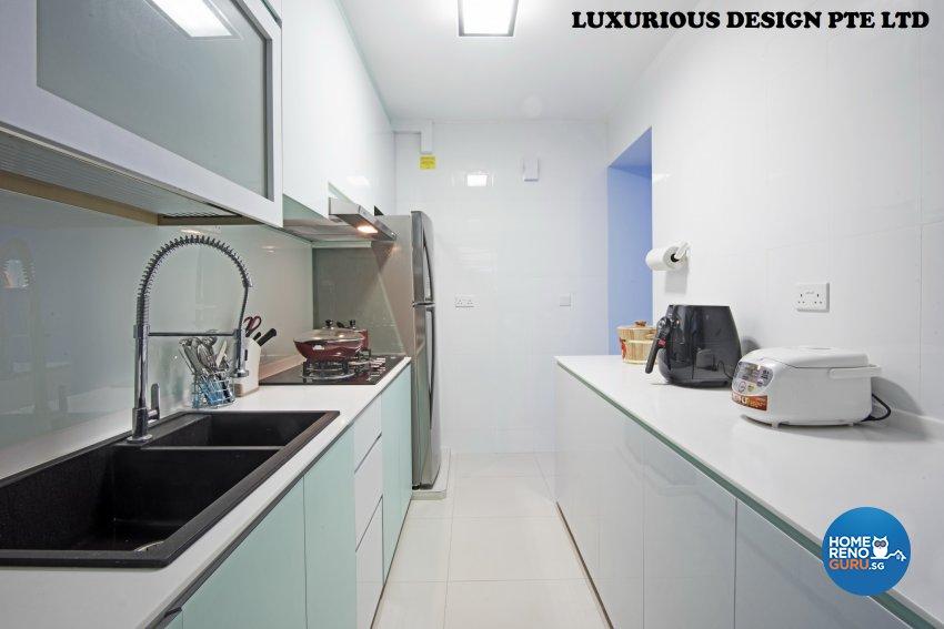 Contemporary, Mediterranean, Tropical Design - Kitchen - HDB 3 Room - Design by Luxurious Design Pte Ltd