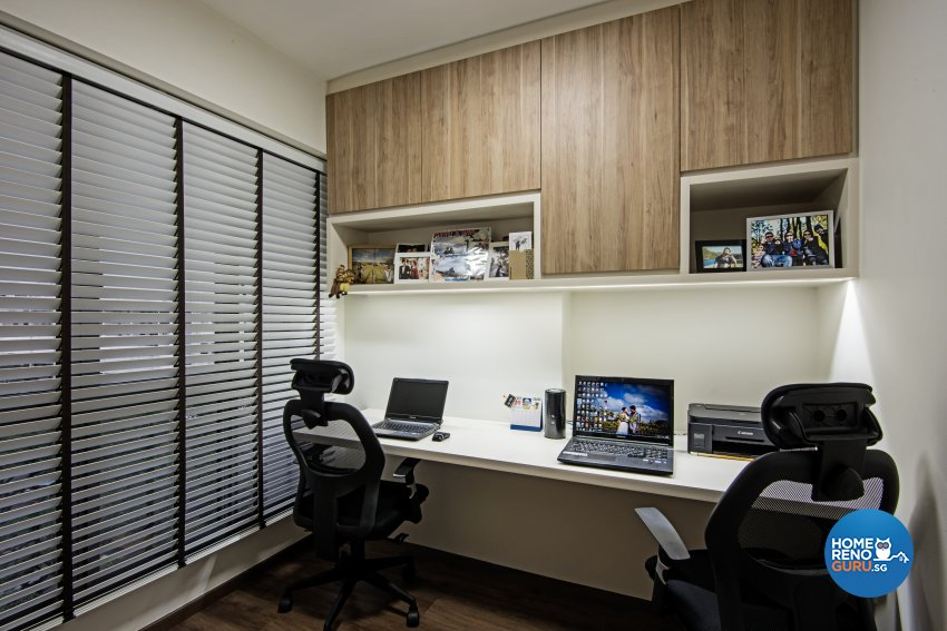 Contemporary, Modern Design - Study Room - HDB 4 Room - Design by Luxurious Design Pte Ltd
