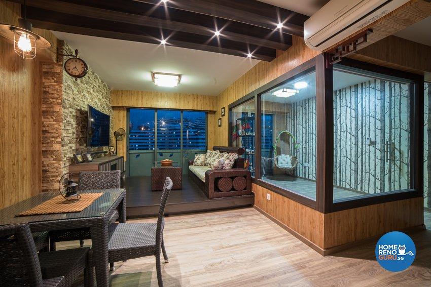 Contemporary, Tropical Design - Living Room - HDB 4 Room - Design by Luxurious Design Pte Ltd