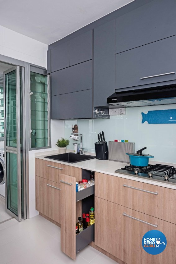 Contemporary Design - Kitchen - HDB 4 Room - Design by Luxurious Design Pte Ltd