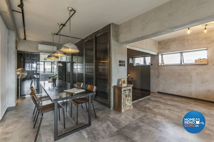 Eclectic, Industrial, Modern Design - Dining Room - HDB 4 Room - Design by Meter Cube Interiors Pte Ltd