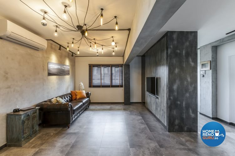 Eclectic, Industrial, Modern Design - Living Room - HDB 4 Room - Design by Meter Cube Interiors Pte Ltd